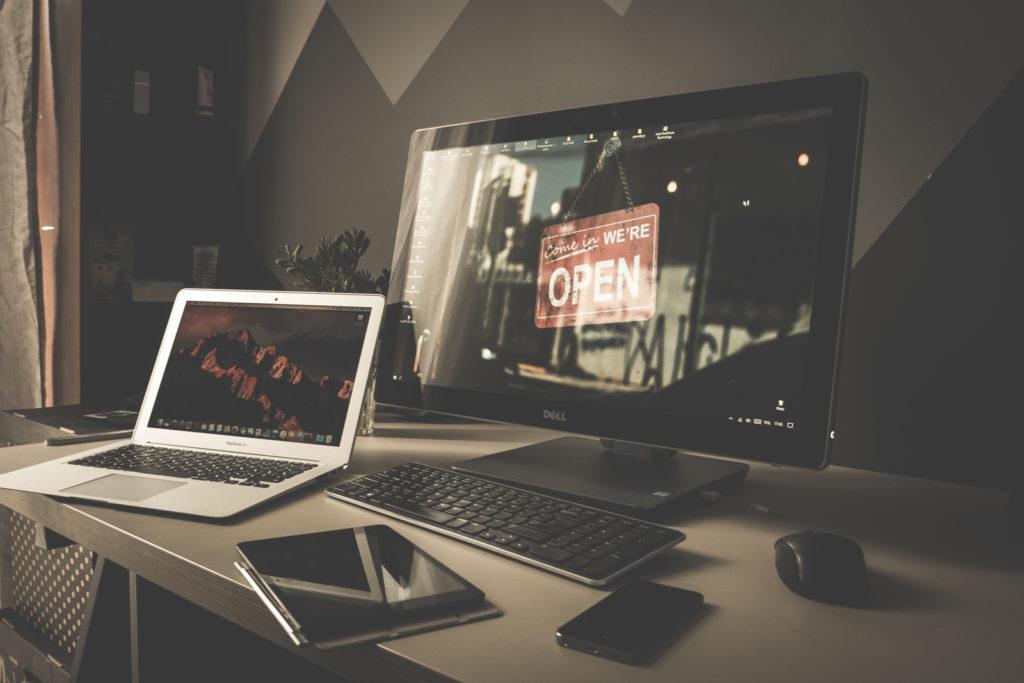 Computer desktop completed setup on desk