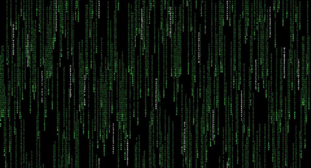 Green text computer code
