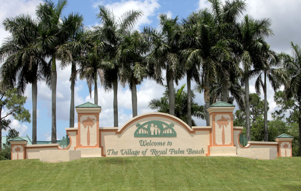 Welcome to the village of royal palm beach sign
