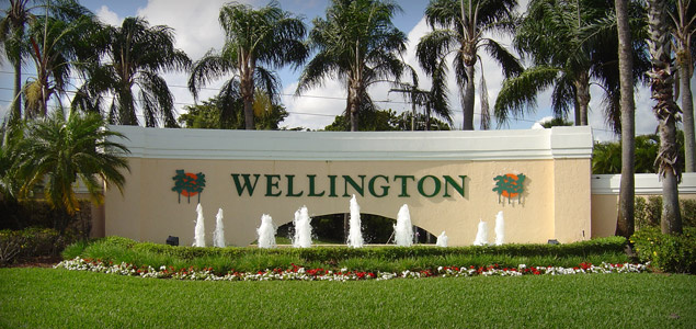 Wellington city sign with the fountain