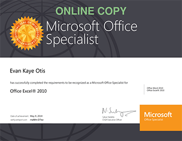 Microsoft office excel 2010 certification