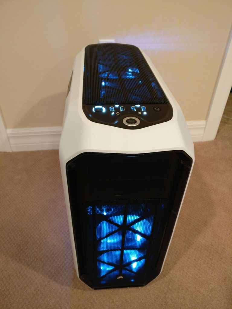 Front view of a white and black custom desktop