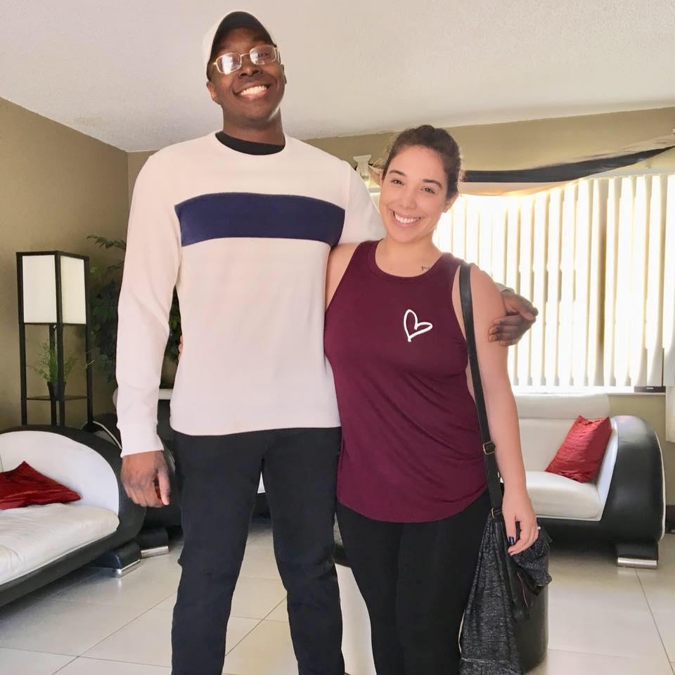 Destiny with her boyfriend smiling