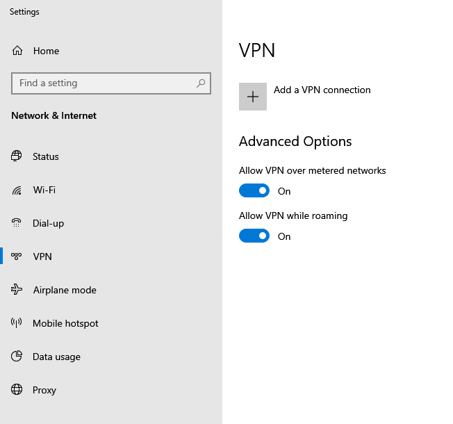 Windows 10 settings for VPN connection